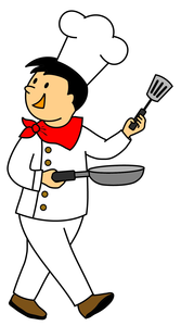 smiling chef with pan