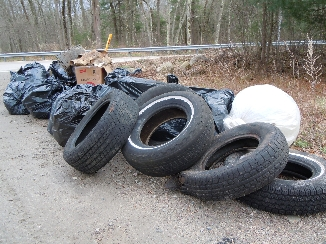Spring 2014 cleanup trash pile from Blackstone River and Bacon Brook
