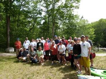 group of paddlers after arriving at Blackstone Gorge