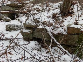 "Remains of old ""dry bridge"" at Ellis-Salisbury Farmstead in Hassanamesit Woods"