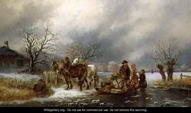 The Frozen River - Oil Painting by artist Alexis de Leeuw