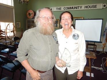Val Stegemoen receiving recognition from BRWA President Joanne Holahan