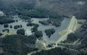 aerial view of West Hill Dam