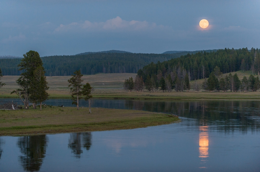 Moonrise over the Yellowstone River by Ben Steinberger