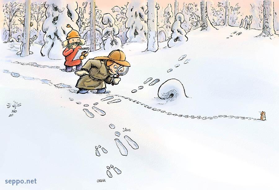 cartoon - kids following tracks