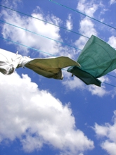 clothes drying on a line.