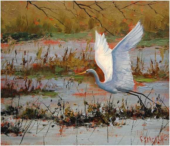 Wetland Heron - watercolor by Graham Gercken